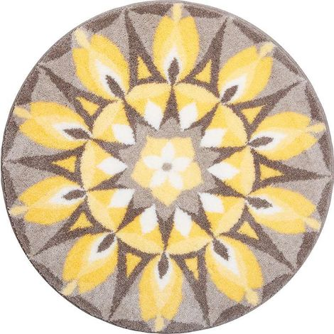tapis de salle de bain self love jaune gris rond 100 cm. Black Bedroom Furniture Sets. Home Design Ideas