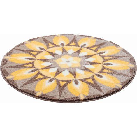 Tapis de salle de bain SELF-LOVE jaune gris rond 80 cm / Couleur: Jaune  gris / Référence: m2678-043001087