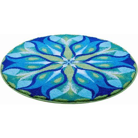 Tapis de salle de bain SILENT GLOW bleu vert rond 80 cm / Couleur: Bleu  vert / Référence: m2674-043001280