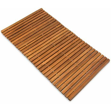 Tapis de salle de bain - tapis de sol antidérapant en bois d''acacia - 80 x 50 cm Tige