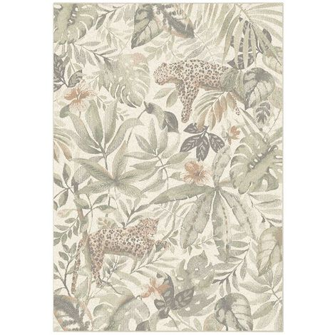 Tapis de salon en velours - Amazonie - Motif jungle fleur et jaguar