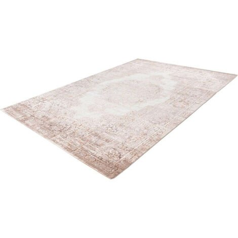 Tapis de salon vintage à poils courts rayé rectangle Paris Taupe 80x150 - Taupe