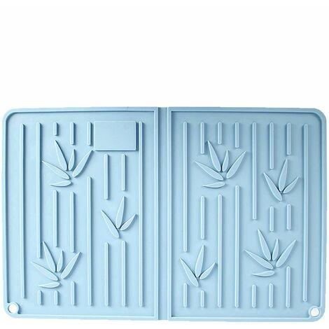 Tapis de séchage en silicone tapis egouttoir vaisselle résistant à la chaleur antidérapant avec brosse tapis de dessous de plat pour vaisselle tasse comptoir de cuisine 35*23cm bleu