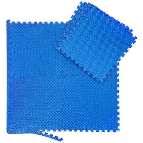 Tapis de sol 8 nattes, paillassons,fitness, appareils de sport et rebords, superficie 3m²,lxP 60x60 cm, bleu