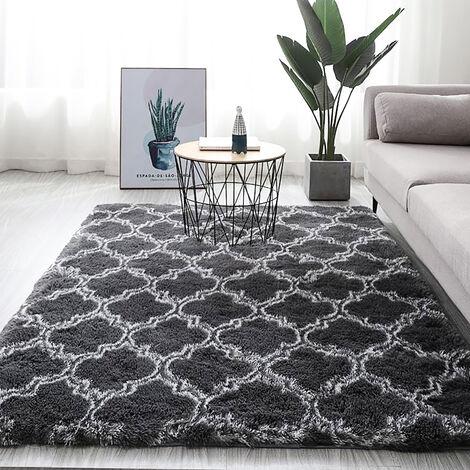 Tapis de sol antidérapant Shaggy tapis de salle à manger tapis de sol gris foncé, 80x200cm