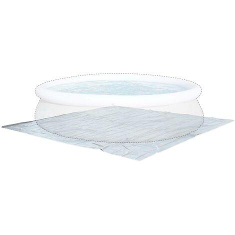 Tapis de sol gris 390 x 390 cm pour piscine ronde hors sol ⌀ 360cm, bâche, couverture, protection sol