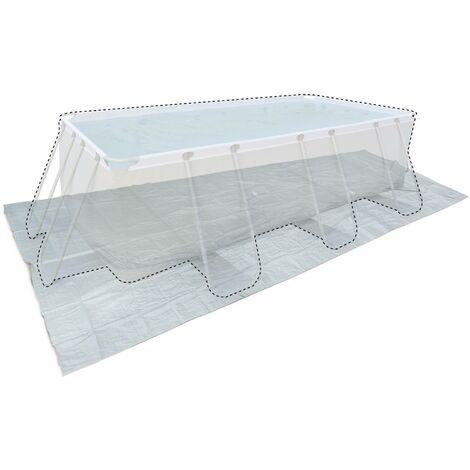 Tapis de sol gris 472 x 265 cm pour piscine rectangulaire hors sol 400 x 200 cm, bâche, couverture, protection sol