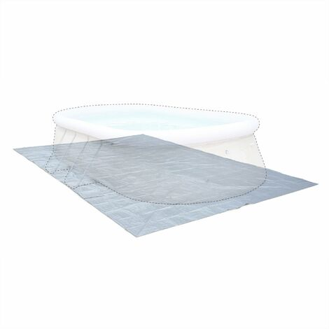 Tapis de sol gris 583 x 390 cm pour piscine rectangulaire hors sol 540 x 300 cm, bâche, couverture, protection sol