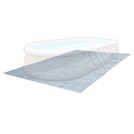 Tapis de sol gris 753 x 435 cm pour piscine rectangulaire hors sol 730 x 360 cm, bâche, couverture, protection sol