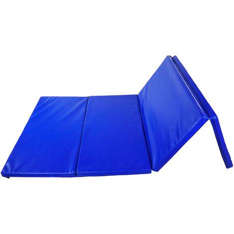 Tapis de sol gymnastique Fitness pliable portable rembourrage mousse 5 cm grand confort simili cuir dim. 2,45L m x 1,15l m bleu