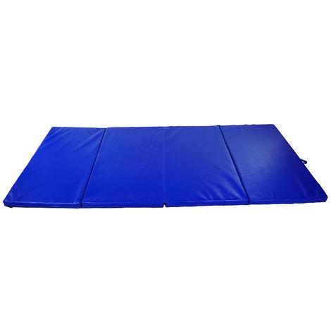 Tapis de sol gymnastique Fitness pliable portable rembourrage mousse 5 cm grand confort simili cuir dim. 2,93L m x 1,15l m bleu