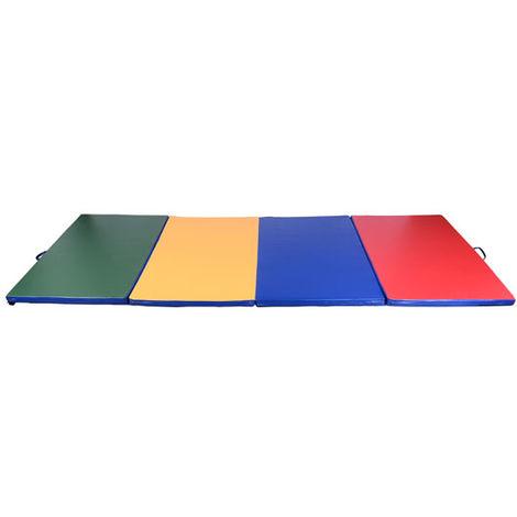 Tapis de sol gymnastique Fitness pliable portable rembourrage mousse 5 cm grand confort simili cuir dim. 2,93L m x 1,15l m multicolore