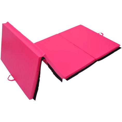 Tapis de sol gymnastique Fitness pliable portable rembourrage mousse 5 cm grand confort simili cuir dim. 2,93L m x 1,15l m rose