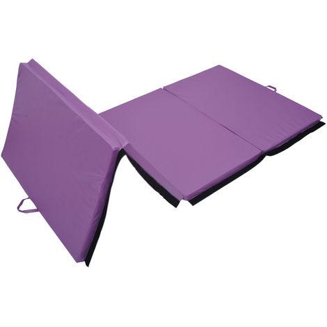 Tapis de sol gymnastique Fitness pliable portable rembourrage mousse 5 cm grand confort simili cuir dim. 2,93L m x 1,15l m violet