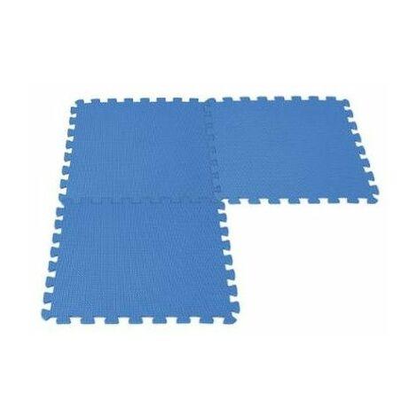 Tapis de sol modulable pour piscine type puzzle 8 pièces - 50 x 50 cm - Mousse - Bleu