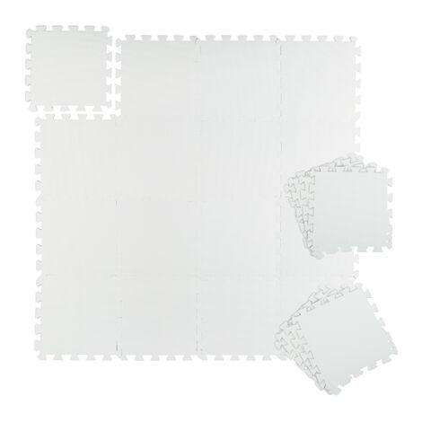"""main image of """"Tapis de sport & de sol 30x30 cm, lot de 24, antibruit & antichoc, 1 m², fitness & équipements sportifs, blanc"""""""