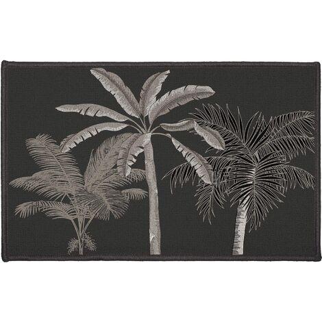 Tapis déco imprimé cocotier Anthracite 40 x 60 cm