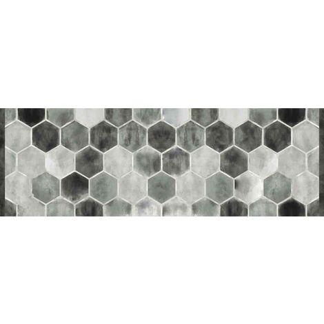 Tapis déco intérieur absorbant - tomettes grises - 150x50 cm