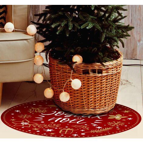 Tapis décoration de fêtes - tapis en vinyle Tarkett - diamètre 90 - Motif joyeux Noël Rouge