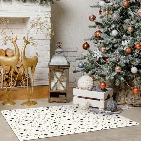 Tapis décoration en vinyle Tarkett - salon ou sous cheminée - 49,5x83 - Motif étoiles noir et doré