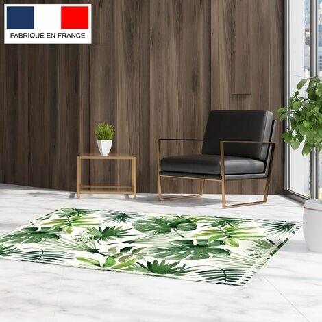 Tapis décoration vinyle Tarkett 80x120 pour salon chambre bureau - style tropical motif mix feuilles
