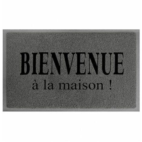 Tapis D Entree Rectangle 40 X 75 Cm Maison Gris Noir 24337
