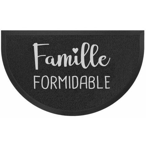 Tapis d'entrée demi-lune 45 x 75 cm - PVC Famille formidable - Noir et gris - Livraison gratuite