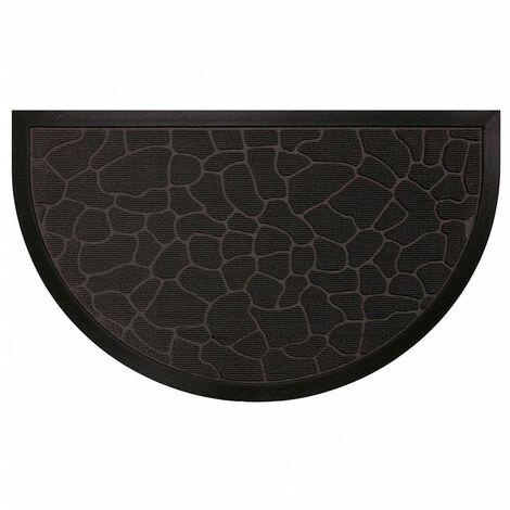 """Tapis d'Entrée Demi Lune en Polypropylène à Reliefs """"Galets"""" Noir 45 x 75 cm"""