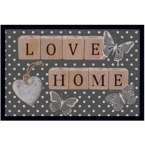 Tapis d'entrée impressions romantiques Gris 40 x 60 cm