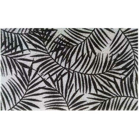 """Tapis d'entrée rectangulaire imprimé """"Herbier"""" Noir Blanc 45 x 75 cm"""