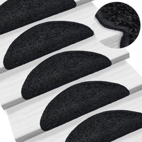 Tapis d'escalier 15 pcs Noir 56 x 20 cm