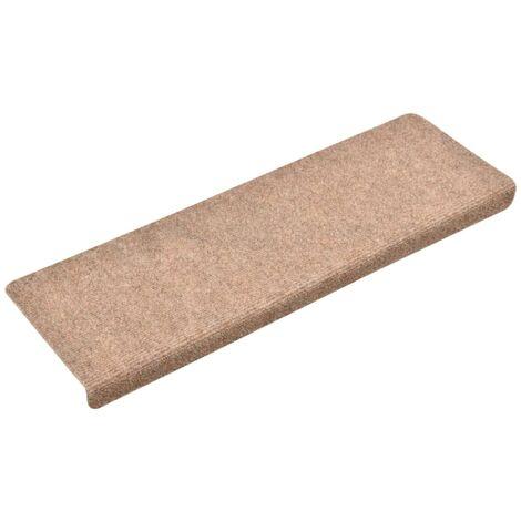 Tapis d'escalier 15 pcs Tissu aiguilleté 65x25 cm Marron
