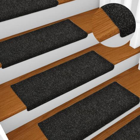 Tapis d'escalier 15 pcs Tissu aiguillete 65x25 cm Noir