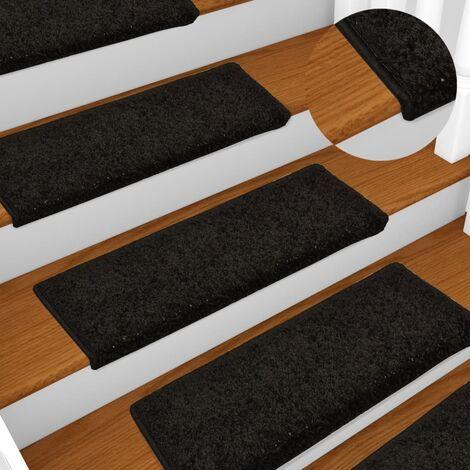 Tapis d'escalier 15 pièces 65x25 cm Noir - noir