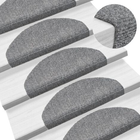 Tapis d'escalier auto-adhésif 15 pcs 65 x 21 x 4 cm Gris clair