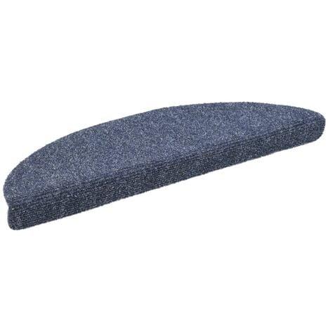 Tapis d'escalier auto-adhésif Poinçon aiguilleté 15 pcs Bleu