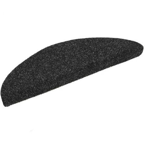 Tapis d'escalier auto-adhésif Poinçon aiguilleté 15 pcs Noir