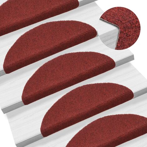 Tapis d'escalier auto-adhésif Poinçon aiguilleté 15 pcs Rouge