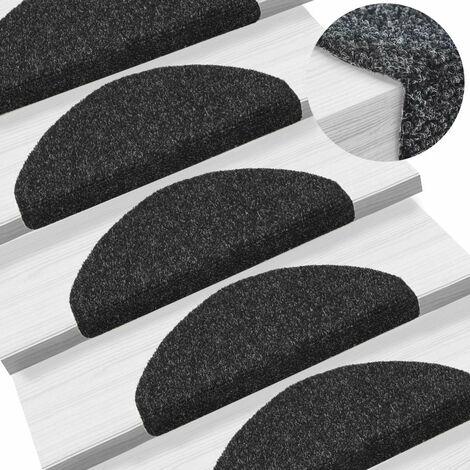 Tapis d'escalier auto-adhésif Poinçon aiguilleté 15 pièces Noir - noir