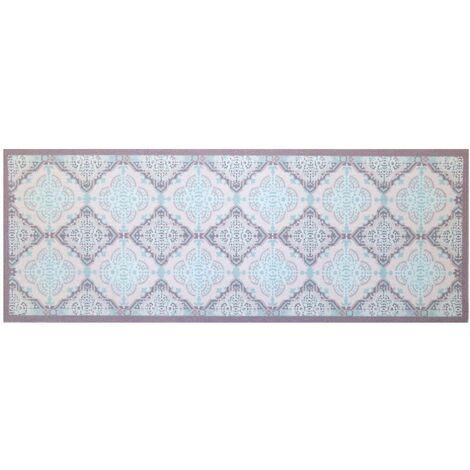 Tapis design carreaux de ciments mosaïqué bleue 45 x 120 cm - Casâme