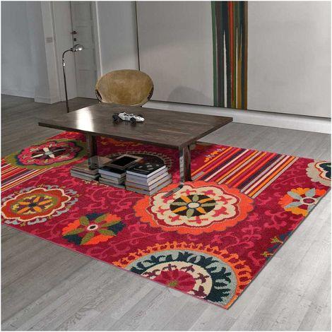 Tapis design et moderne 160x230 cm Rectangulaire TANGERI 5 Rose Salon adapté au chauffage par le sol