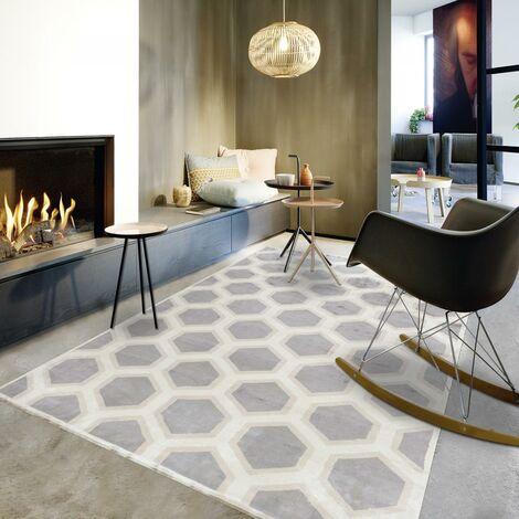Tapis design et moderne 200x300 cm Rectangulaire MOMAX Gris Chambre Noué main Viscose