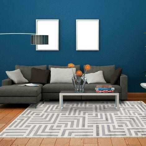 Tapis design et moderne 200x300 cm Rectangulaire MOMIX Gris Chambre Noué main Viscose