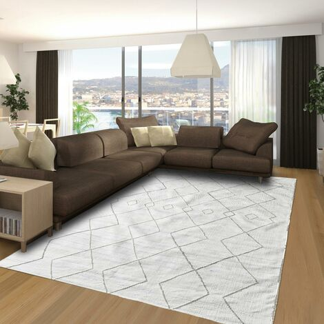 Tapis design et moderne 200x300 cm Rectangulaire MOMRE 1 Gris Salon Tissé à la main adapté au chauffage par le sol