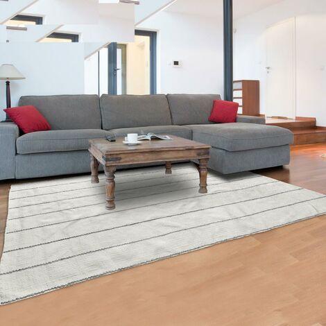 Tapis design et moderne 200x300 cm Rectangulaire MOMRE 2 Gris Salon Tissé à la main adapté au chauffage par le sol