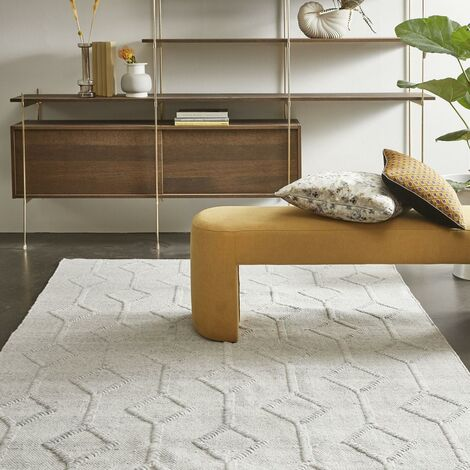 Tapis design et moderne 200x300 cm Rectangulaire MOMRE 4 Gris Salon Tissé à la main adapté au chauffage par le sol
