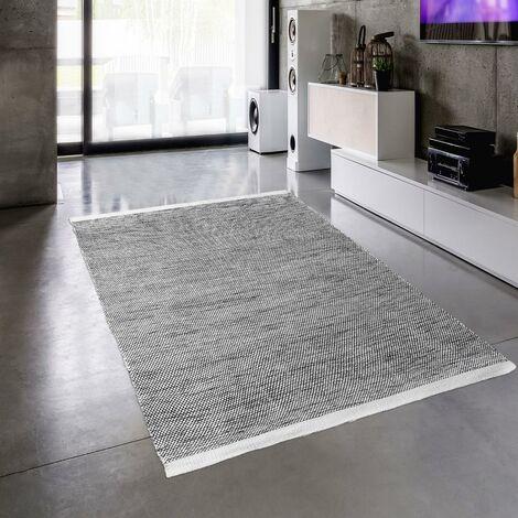 Tapis design et moderne 200x300 cm Rectangulaire MOMRE 6 Noir Salon Tissé à la main adapté au chauffage par le sol