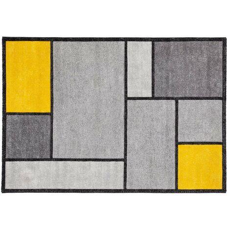 Tapis design jaune et gris 160 x 230 cm CUBIK