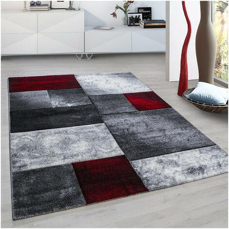 Tapis design pour salon géométrique Nicoletta Rouge 160x230 - Rouge