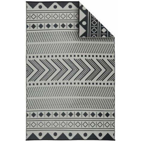 Tapis d'extérieur 180x270cm BAMAKO - Rectangulaire, motif ethnique noir / beige, jacquard, réversible, indoor / outdoor